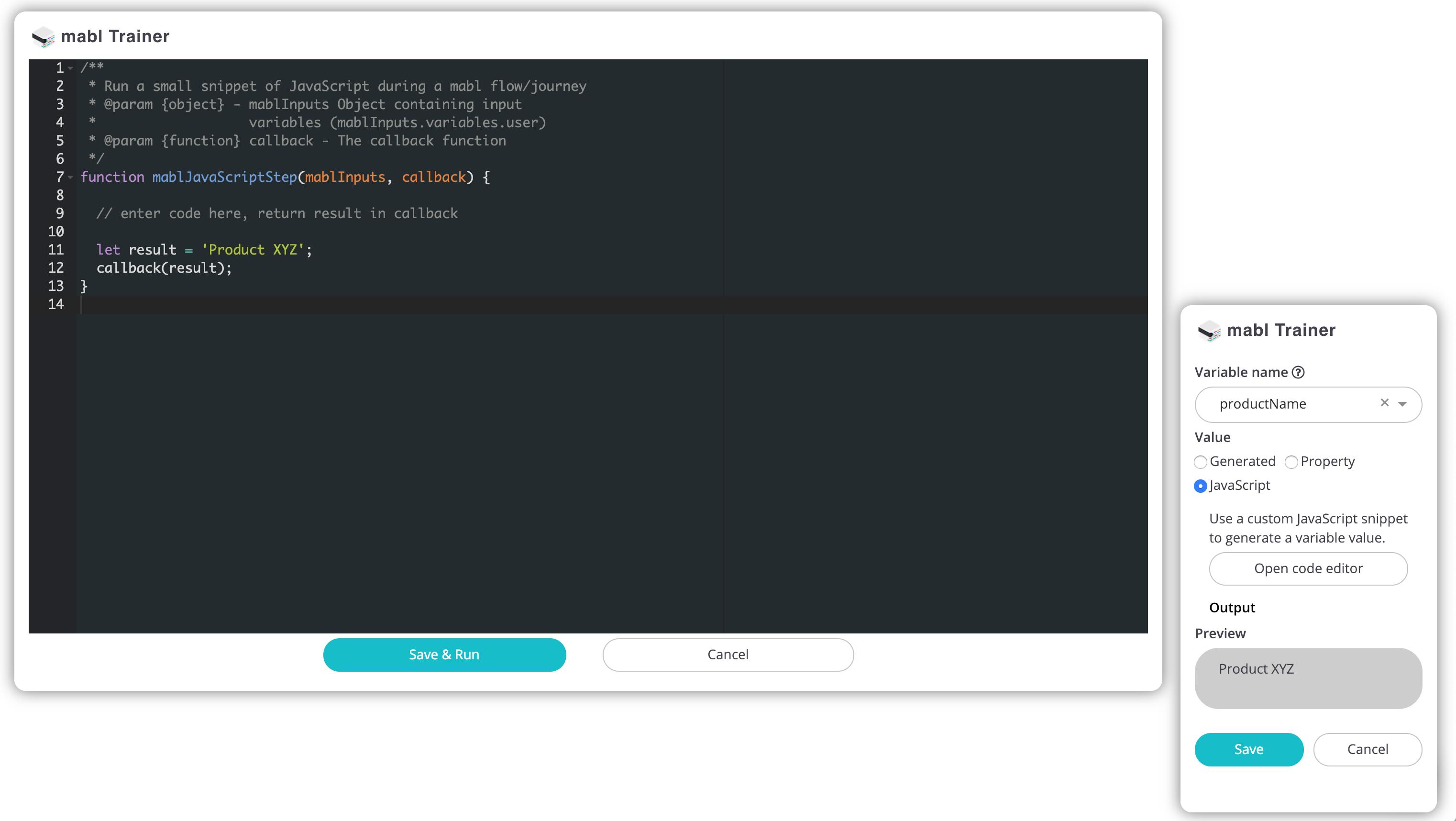 Create JavaScript Variable