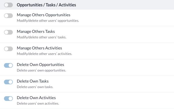 Opportunities / Tasks / Activities