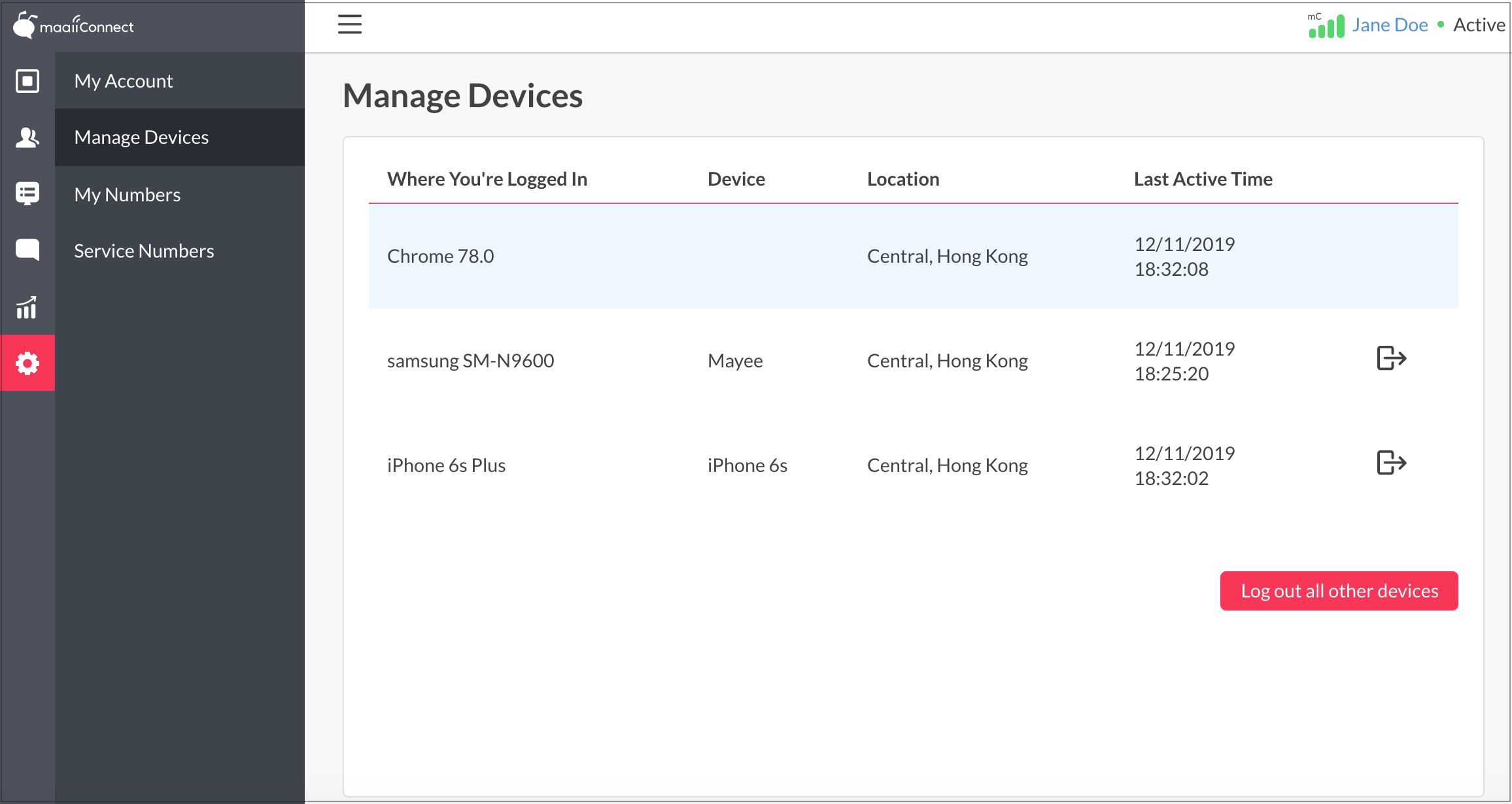 Manage Devices View