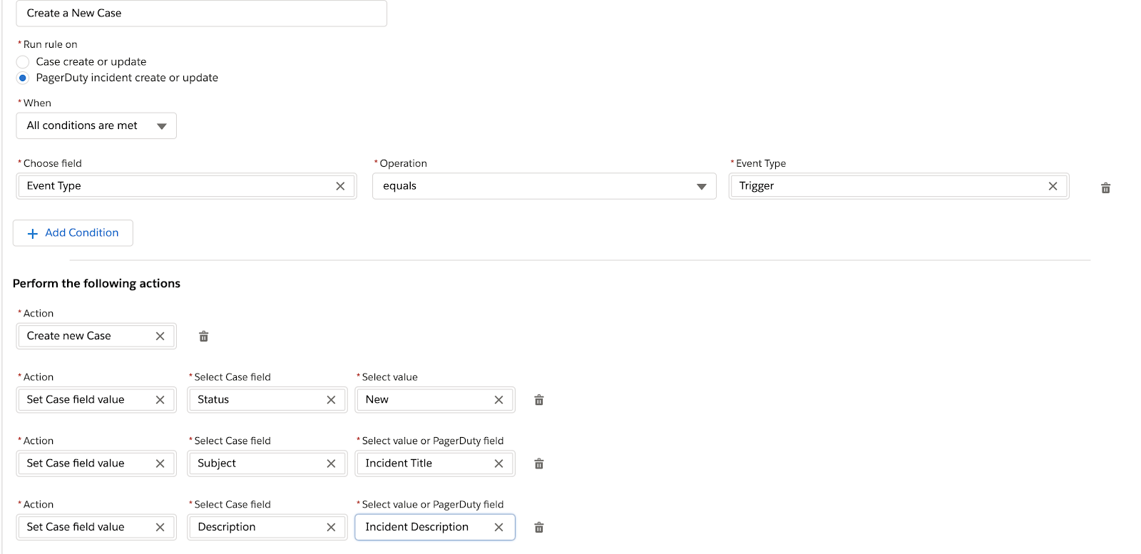 Example ruleset for creating new cases in Salesforce Service Cloud based on the content of a PagerDuty Incident