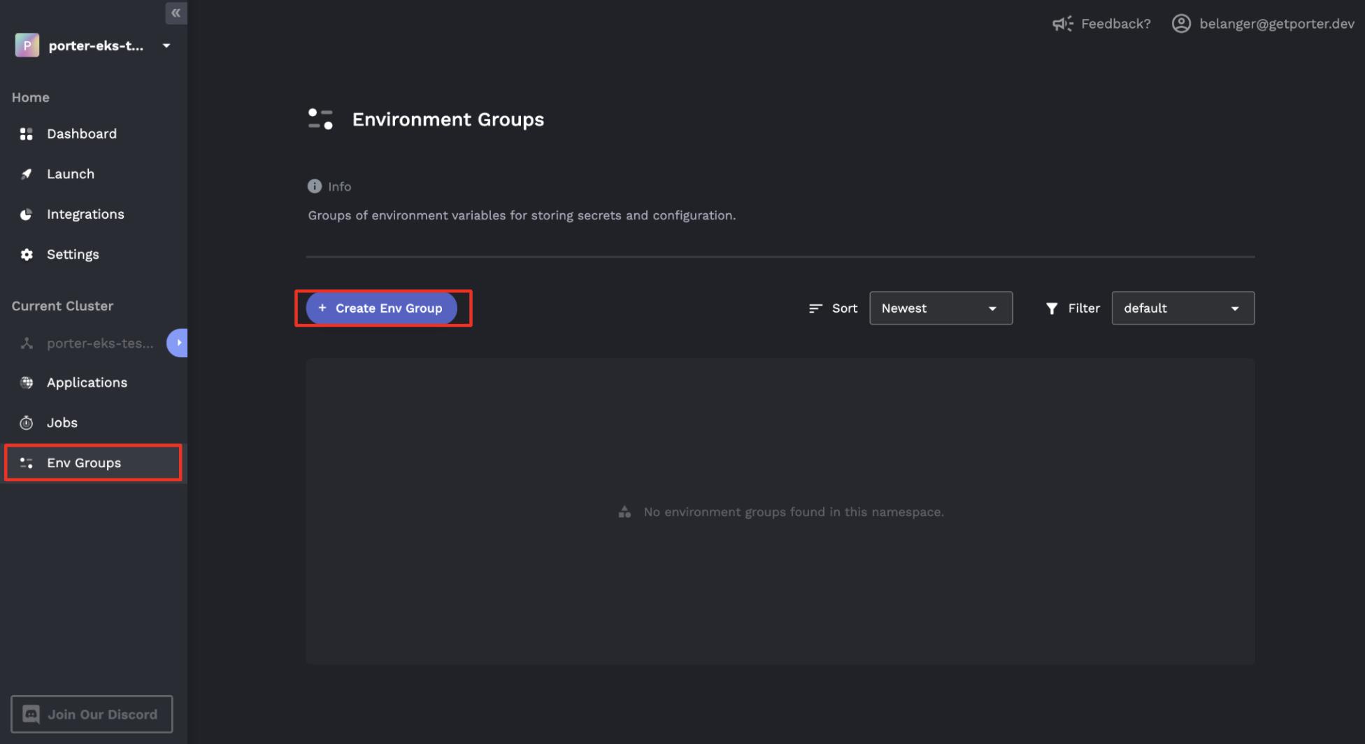 Create env group