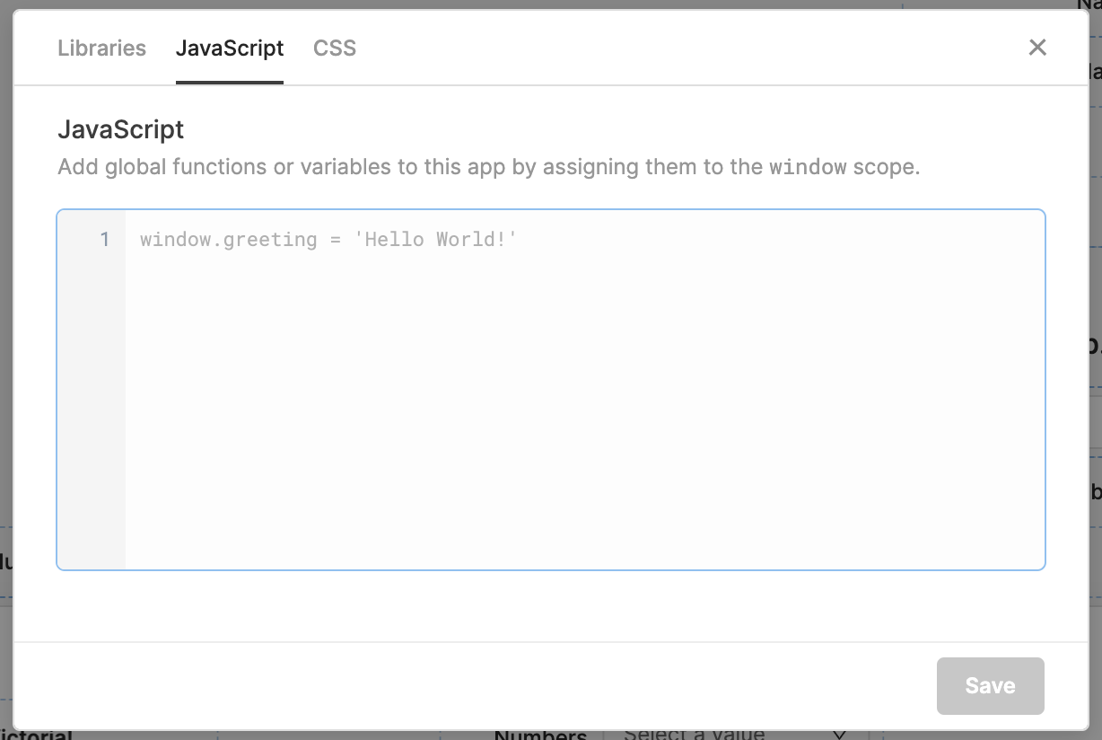 Adding preloaded Javascript to applications.