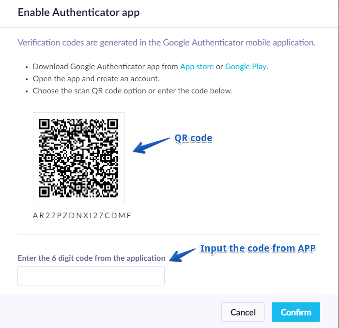 Configuration of Authenticator APP