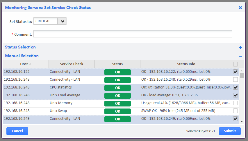 Example of Manually Selecting Service Checks