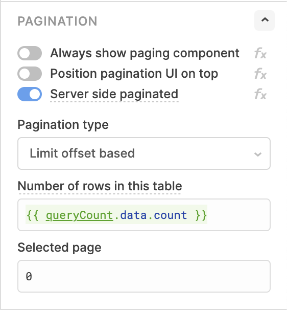 Enable the 'Server side pagination' toggle and create two queries.
