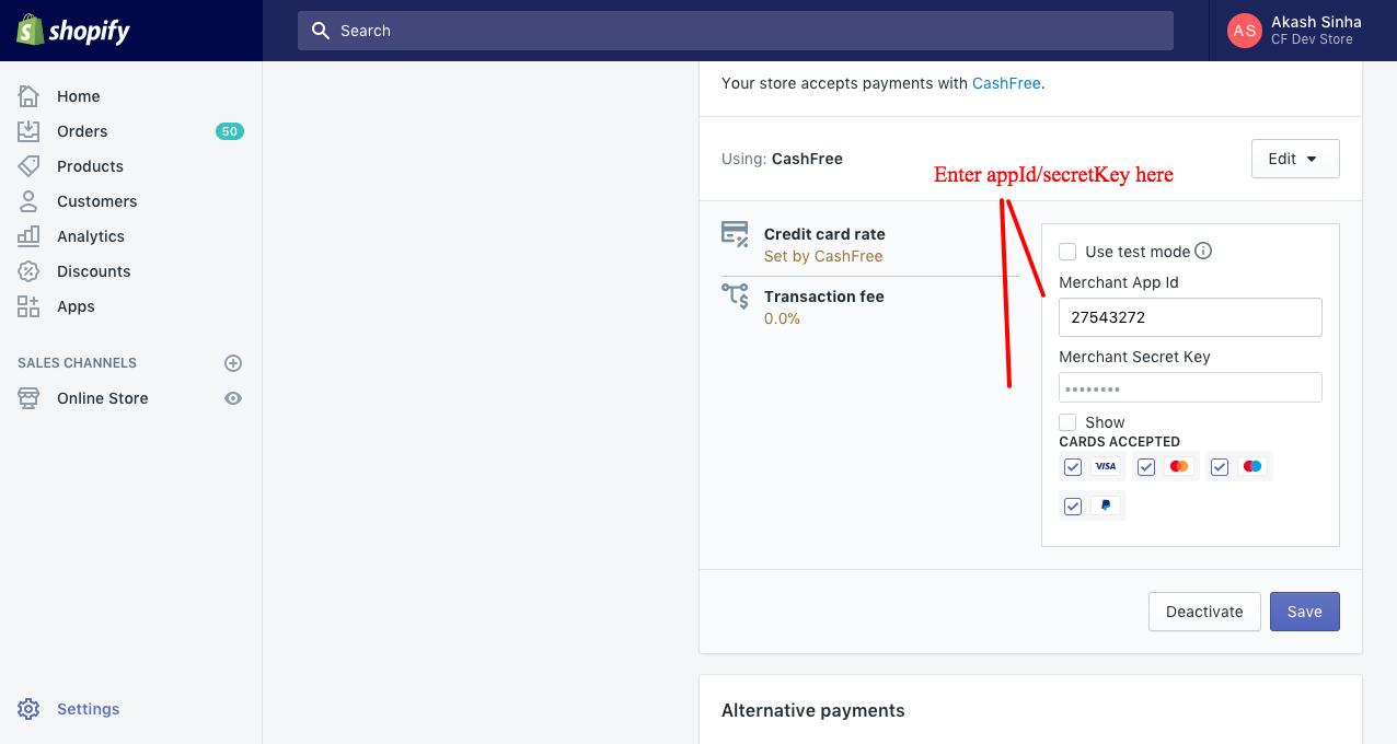 App ID and Secret Key