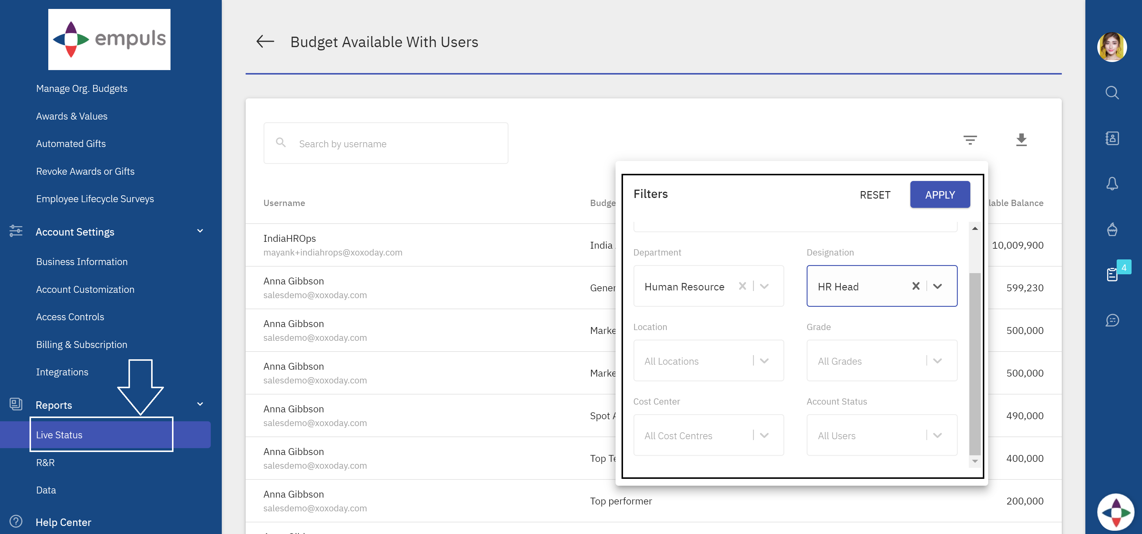 Filters in budgets available with the users