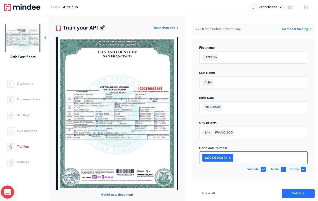 Train your birth certificate OCR