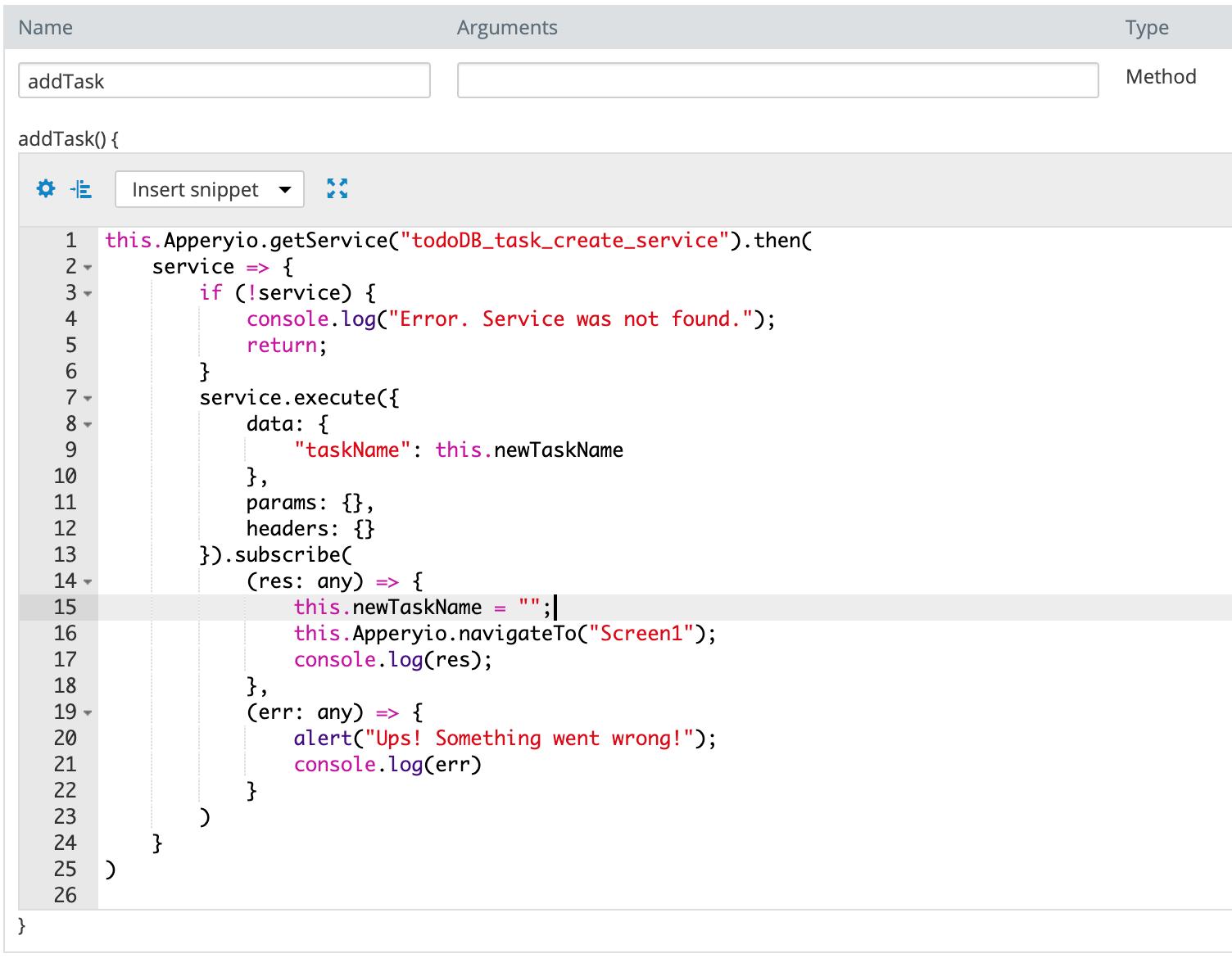 addTask code