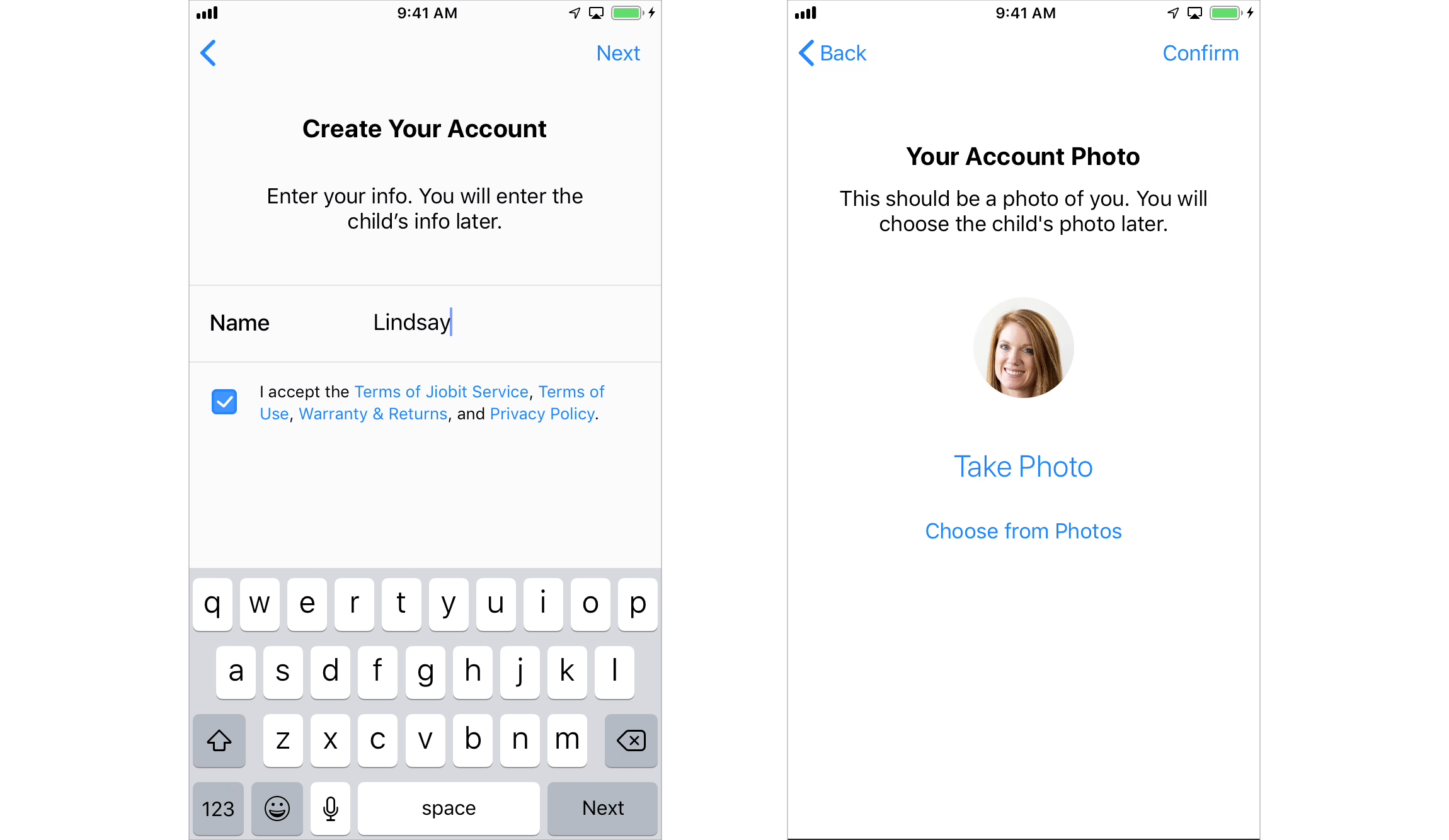 iOS create account screens
