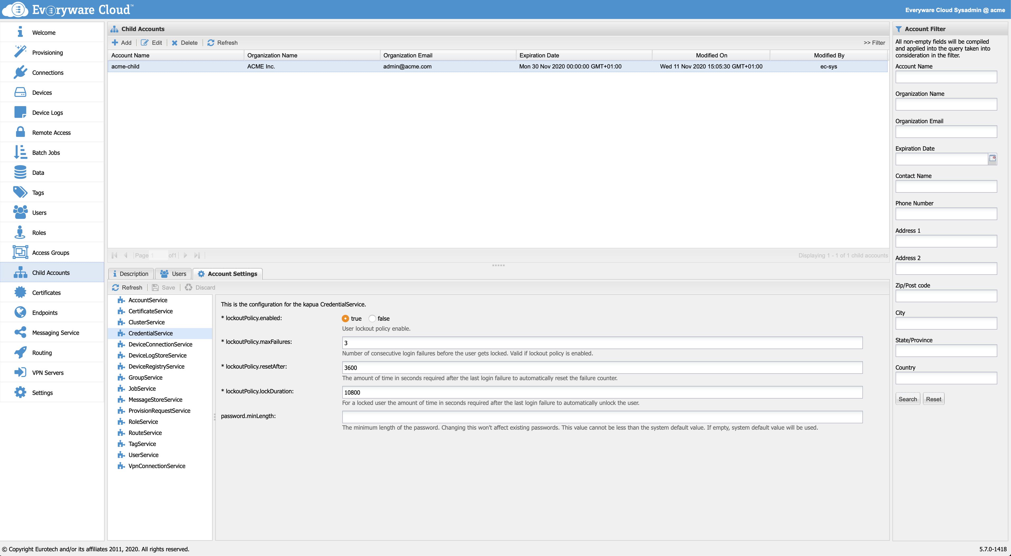 CredentialService configuration