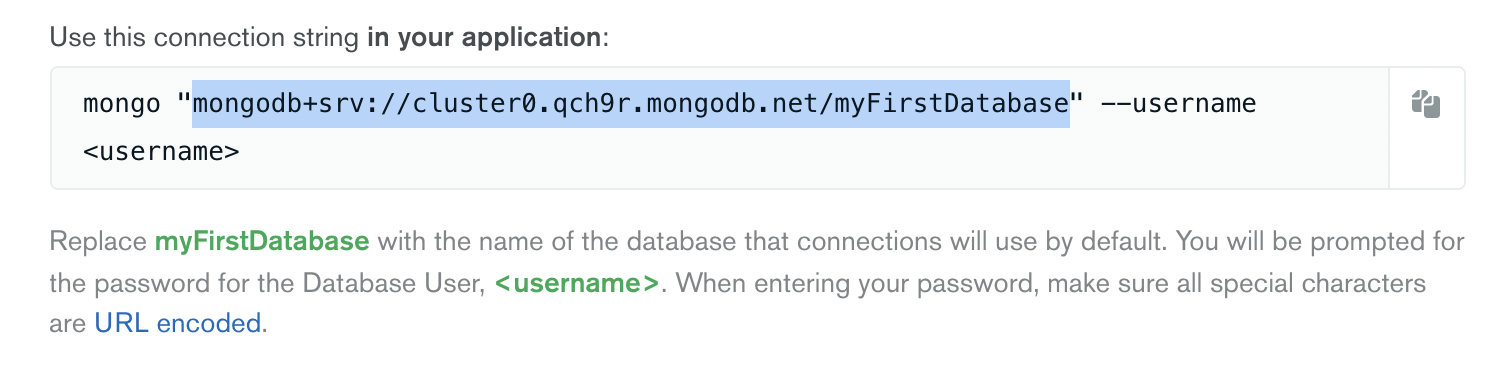 Connection string highlighted here. You can find it in the connect flow