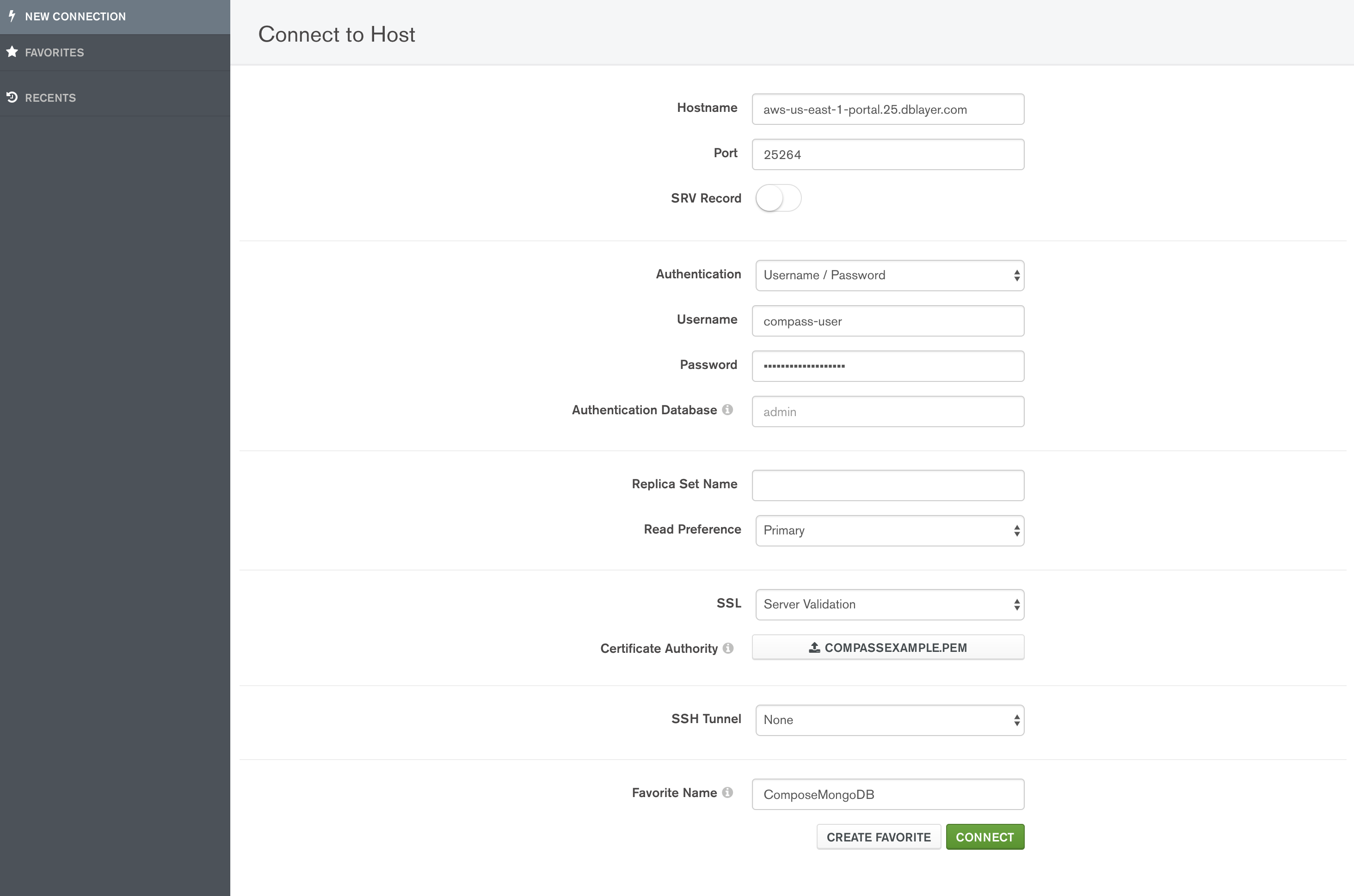 Example connection information entered into MongoDB Compass.