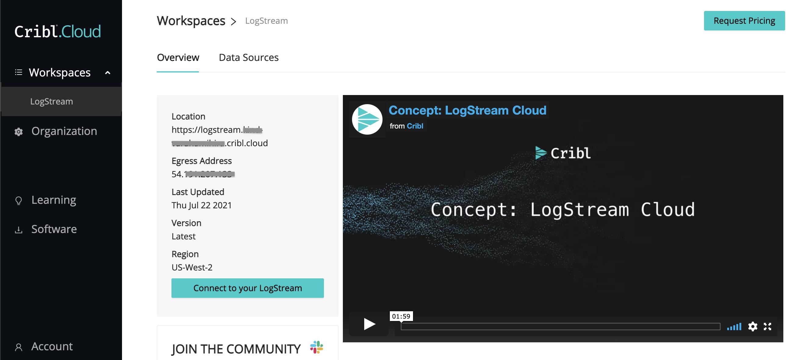 Workspaces > LogStream – Overviewtab