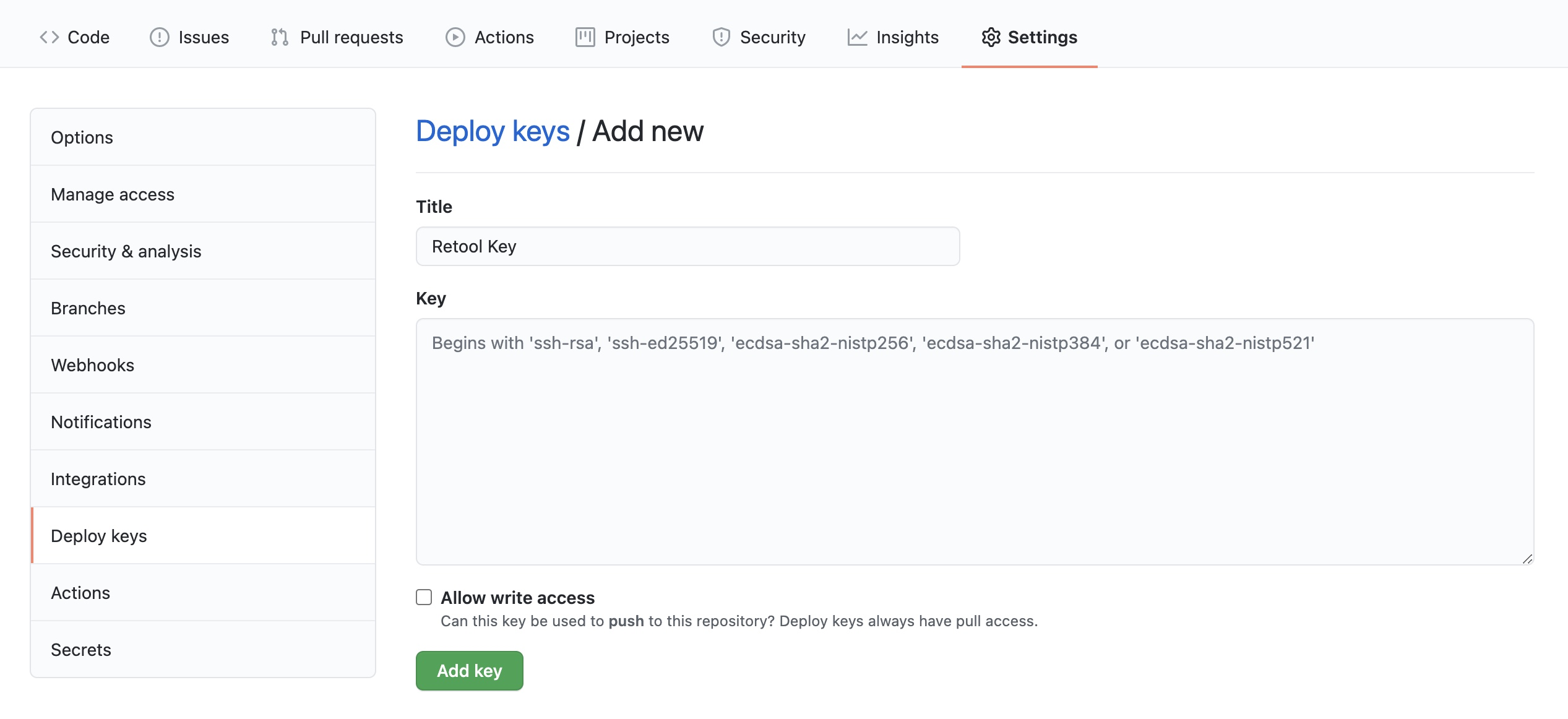 """Adding the deploy key of the read-only instance to the repository. Leave the option for """"Allow write access"""" unchecked."""