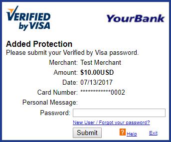 3D Secure authentication page