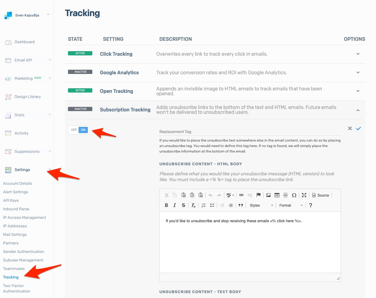 SendGrid Subscription Tracking