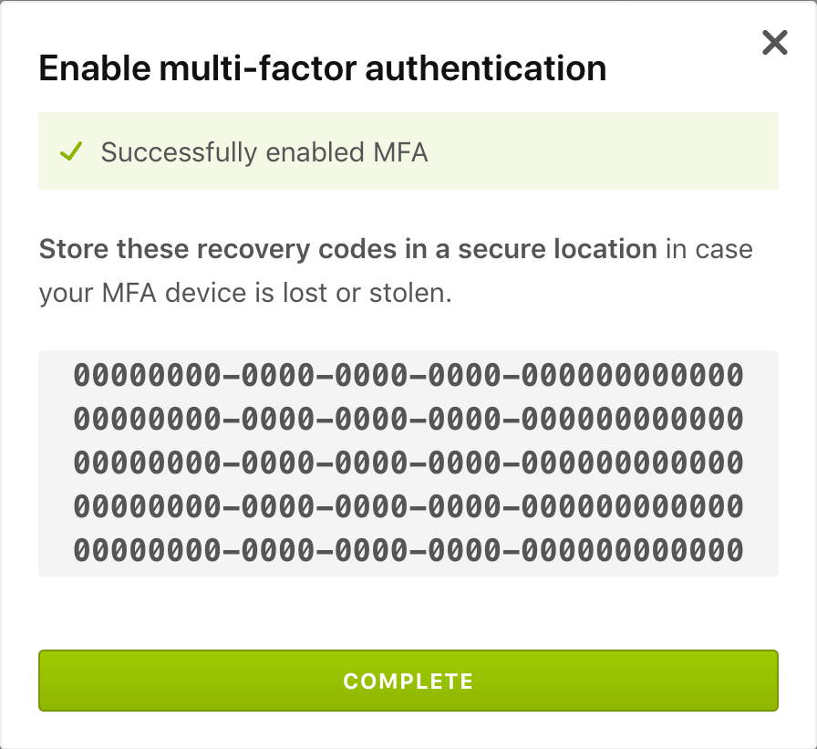 The recovery codes for your account.