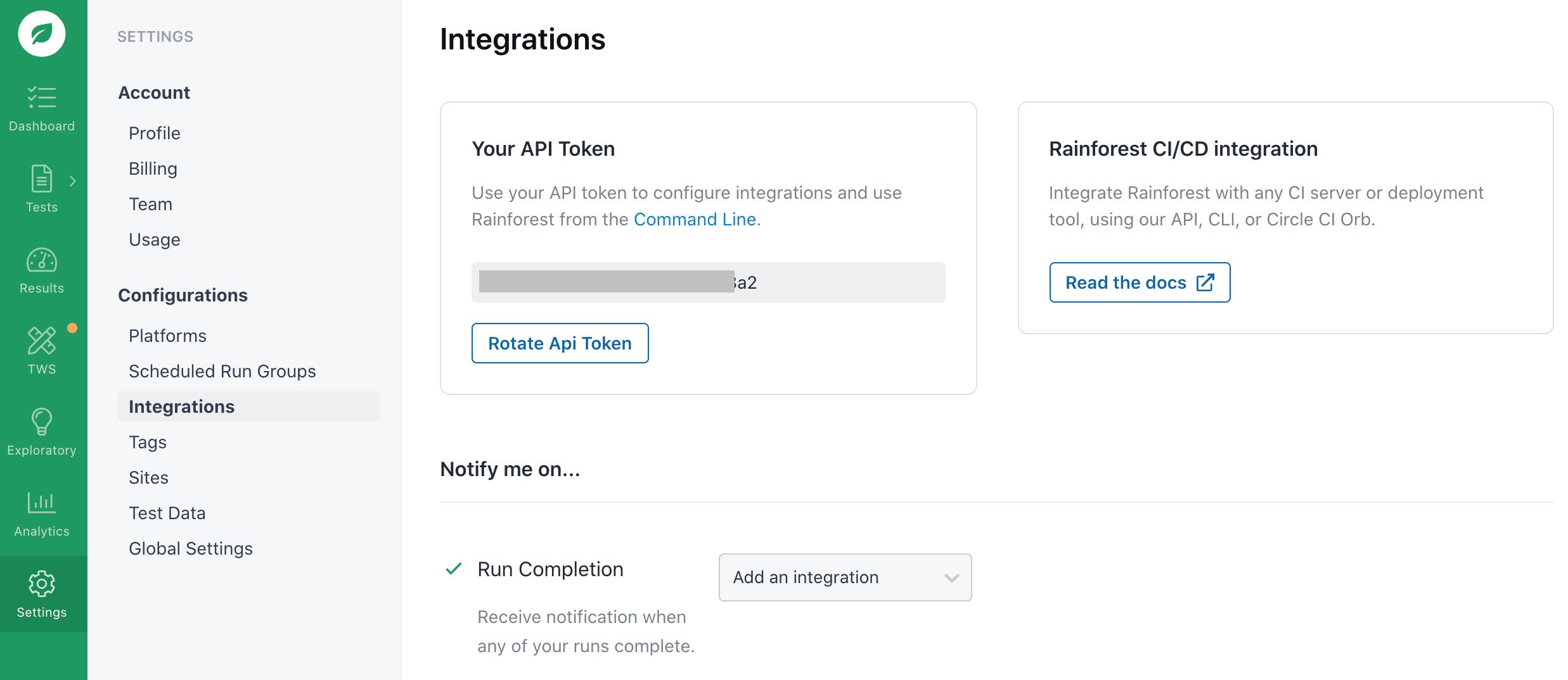 Generating an API token.