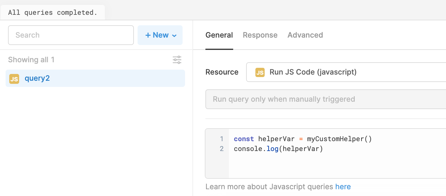 Using preloaded code in a Javascript query.
