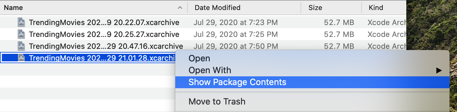 Opening an xcarchive bundle by right clicking > Show Package Contents