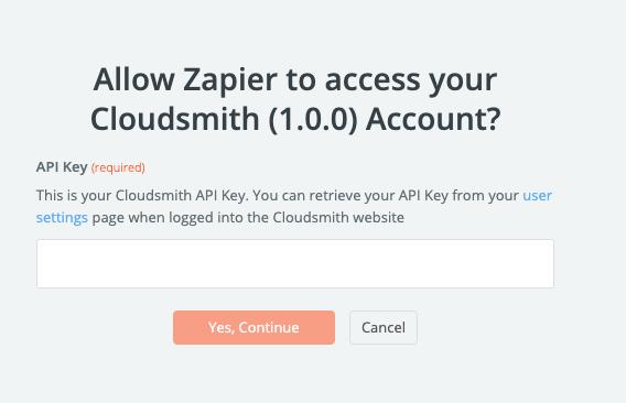 Zapier Cloudsmith API Key setup