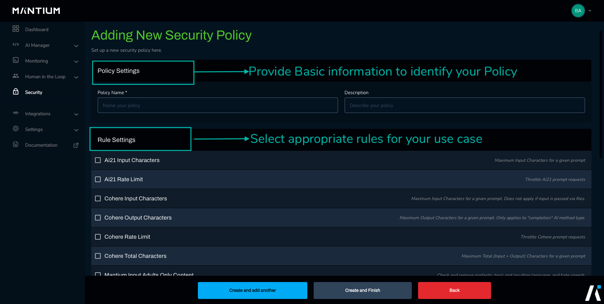 Apply rules to your security policy