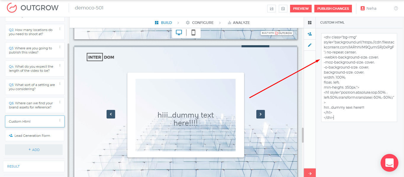Using Custom HTML pages in Outgrow