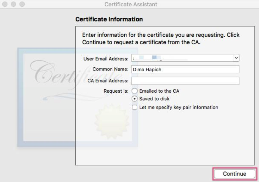 generate certificate signing request for ios app, step two