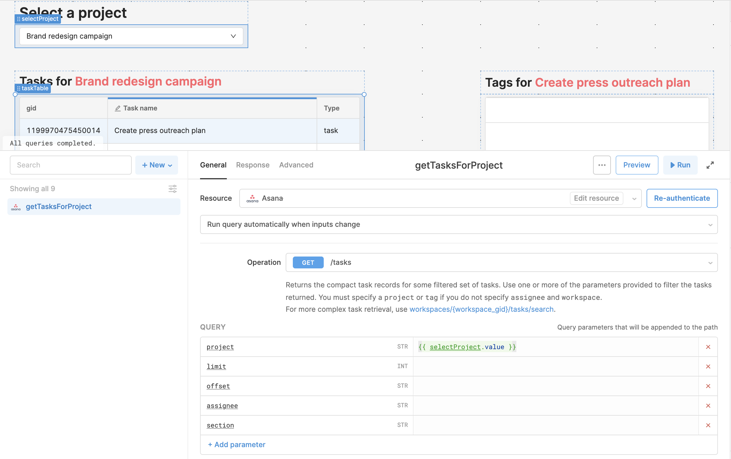GET `/tasks` endpoint with the project specified from a dropdown.