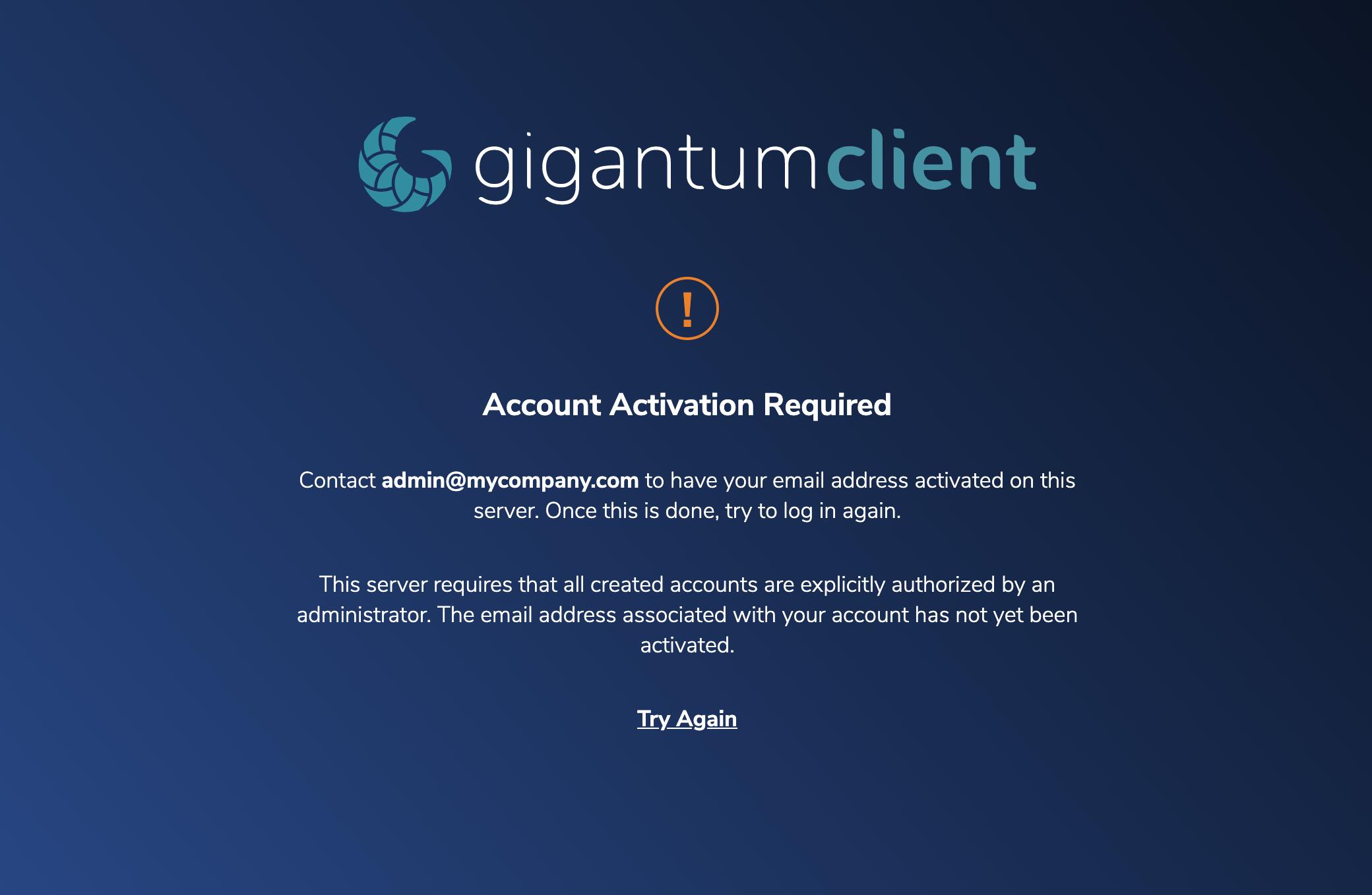 Blocked login screen