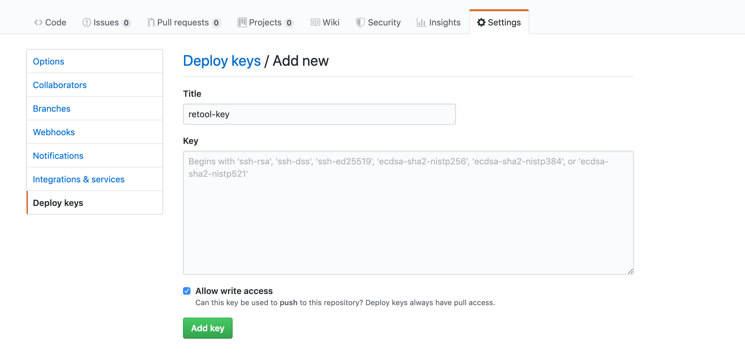 Add Retool's public key to your git repo and make sure you grant write access.