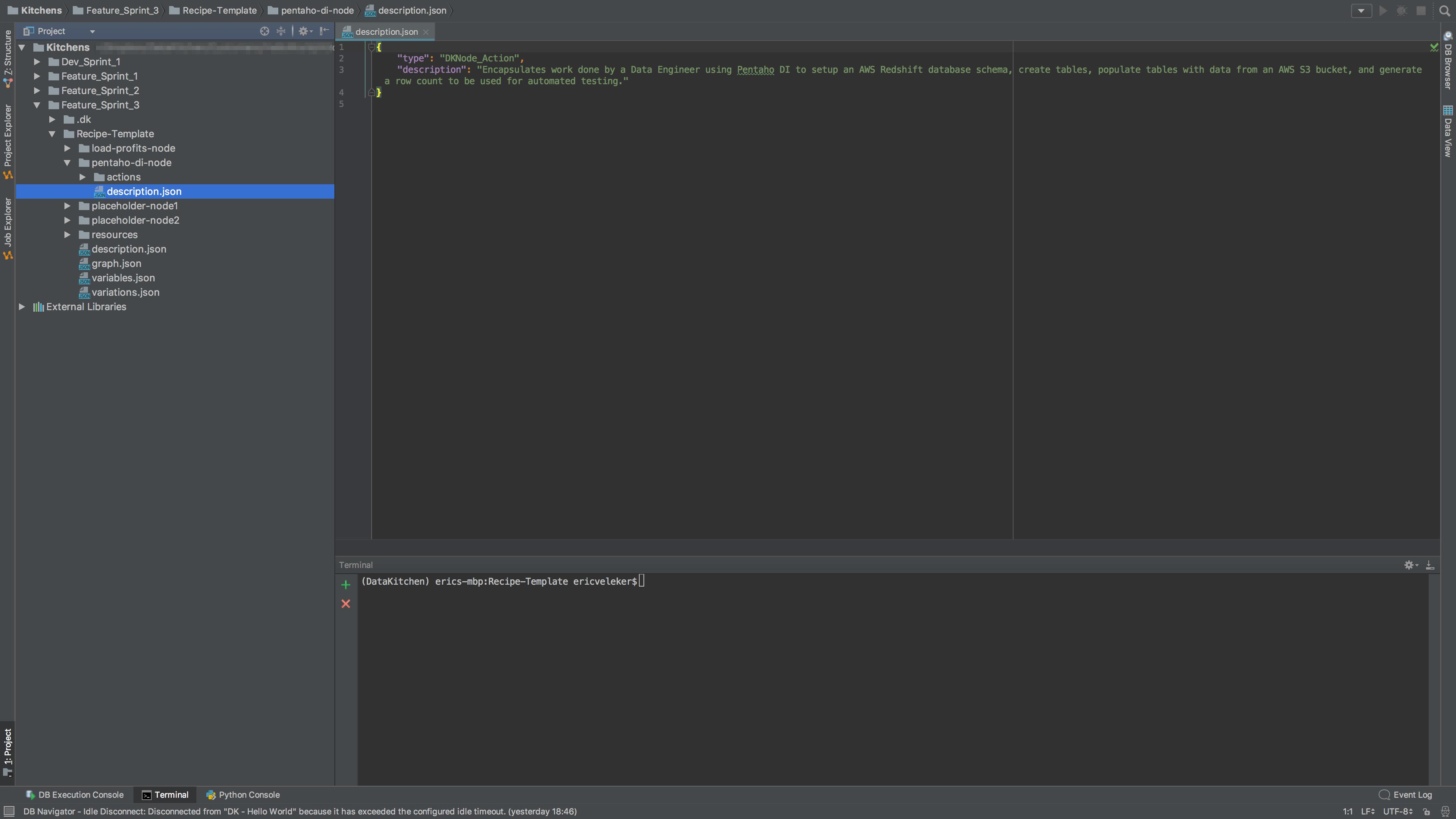 A view of **Recipe-Template**'s **pentaho-di-node**'s **description.json** file.