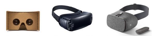 Cardboard, Gear VR, Daydream