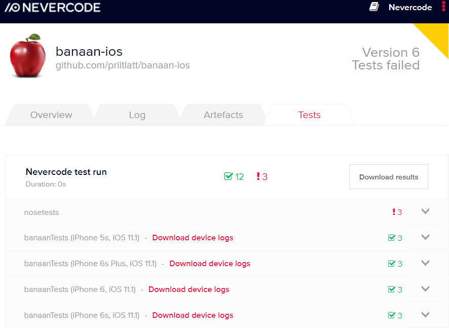 Configuring tests for iOS