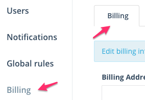 Step 1: Navigate to the Billing section under Settings