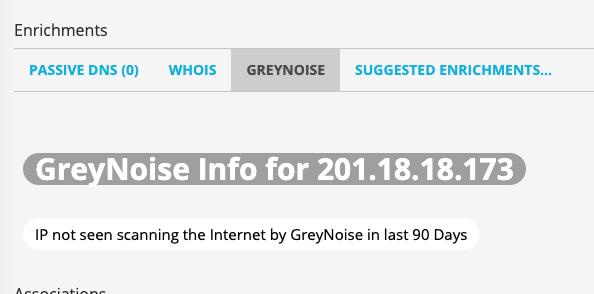 ThreatStream indicating IP not in GreyNoise dataset