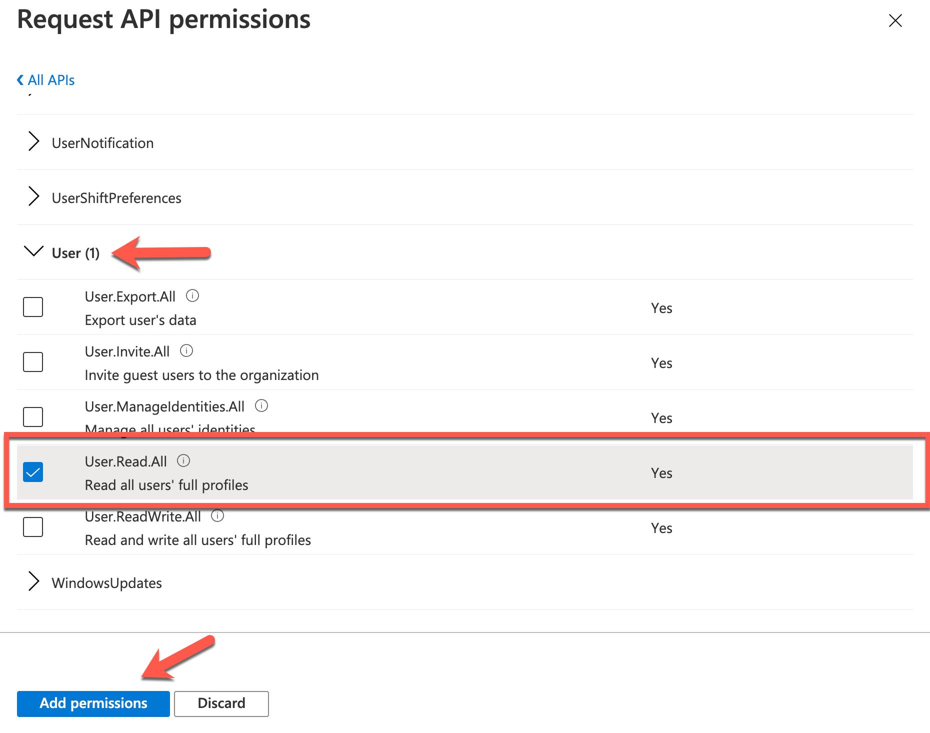 Azure Console - Adding API Permissions (Example permission)