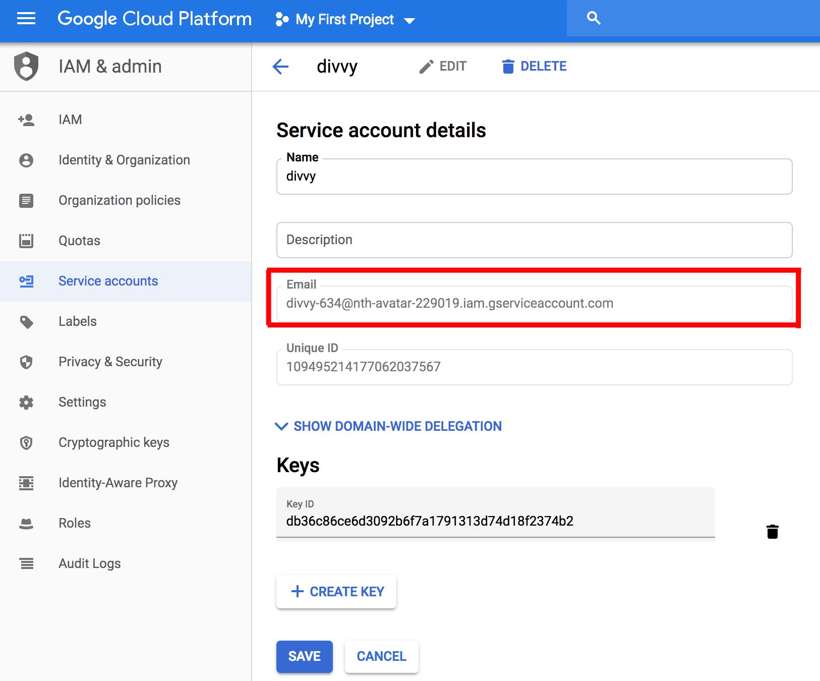 GCP - Service Account Email