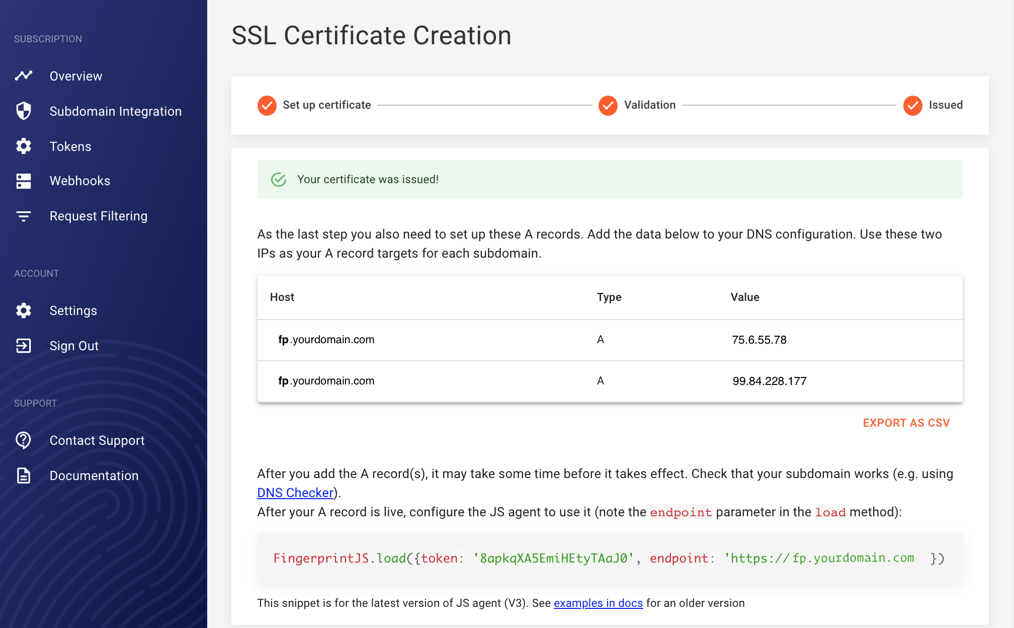 Screenshot of a completed SSL certificate process in the dashboard