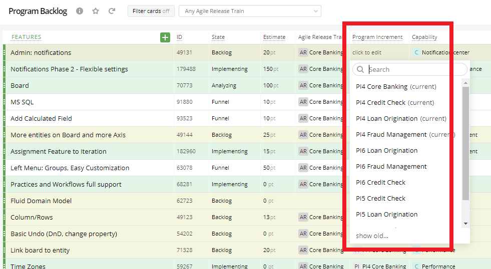 PIs of all ARTs are available in the Program Increment Dropdown (List view).