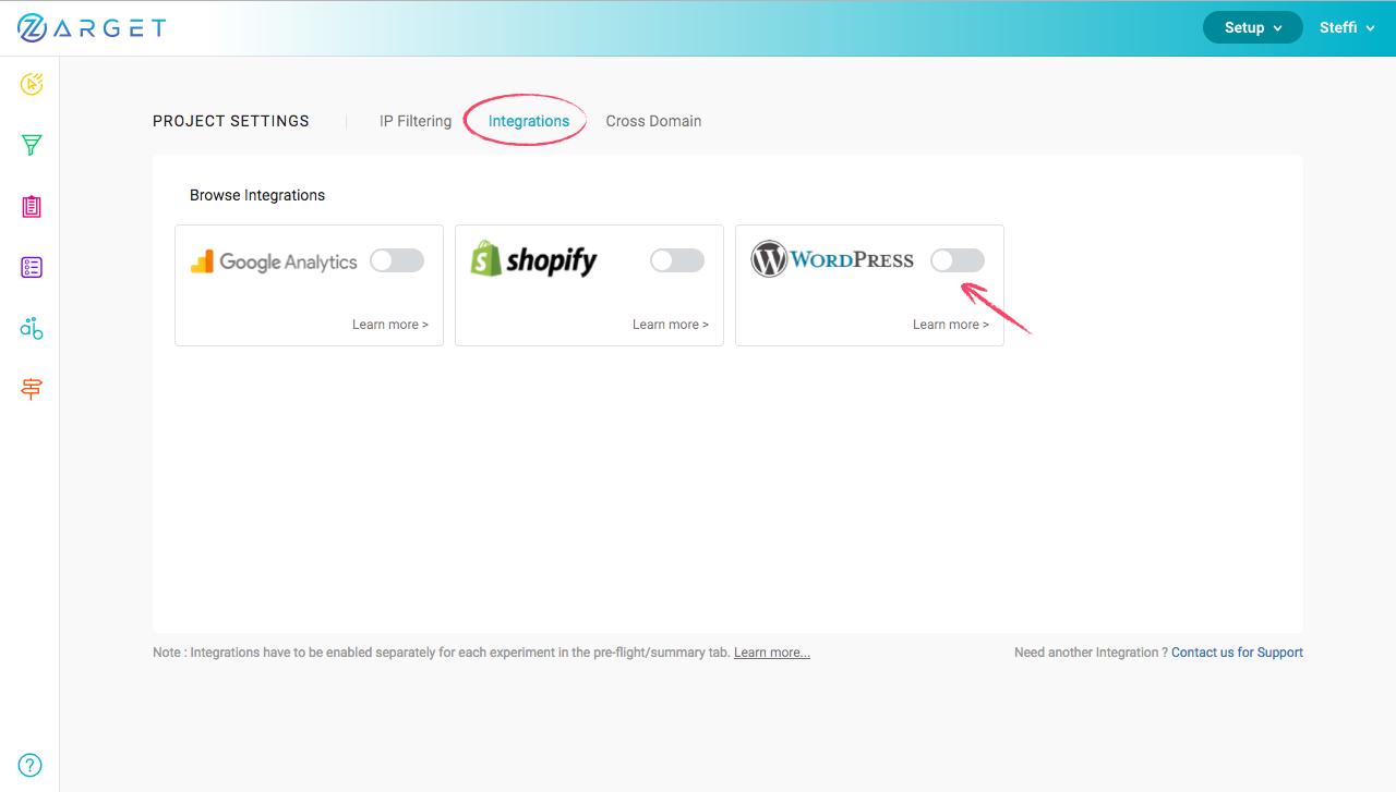 """Enabling """"WordPress"""" in Integrations Tab"""