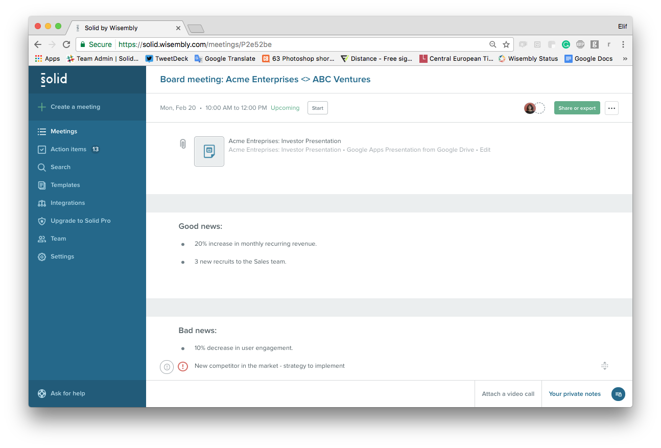 attach your investor presentation via google drive or dropbox to your meeting agenda