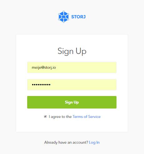 *Figure 3.2. Bridge-GUI (app.storj.io) main registration page.*