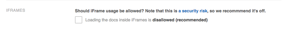 The unchecked box means that iFrame usage is prohibited. No further action is needed.