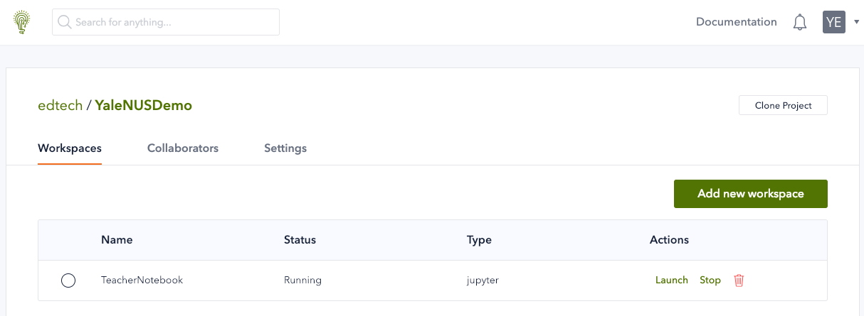 A workspace instance with Status = Running