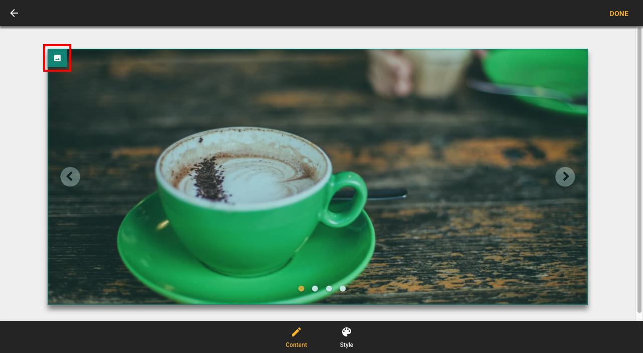 Open slideshow settings