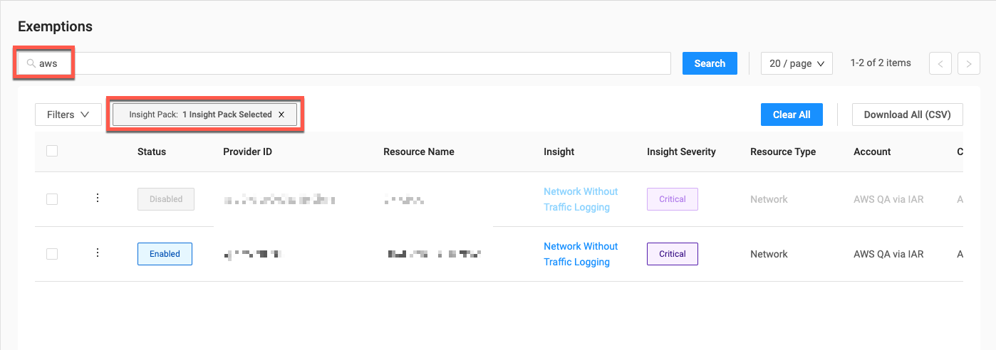 Exemptions Filter Displayed Results