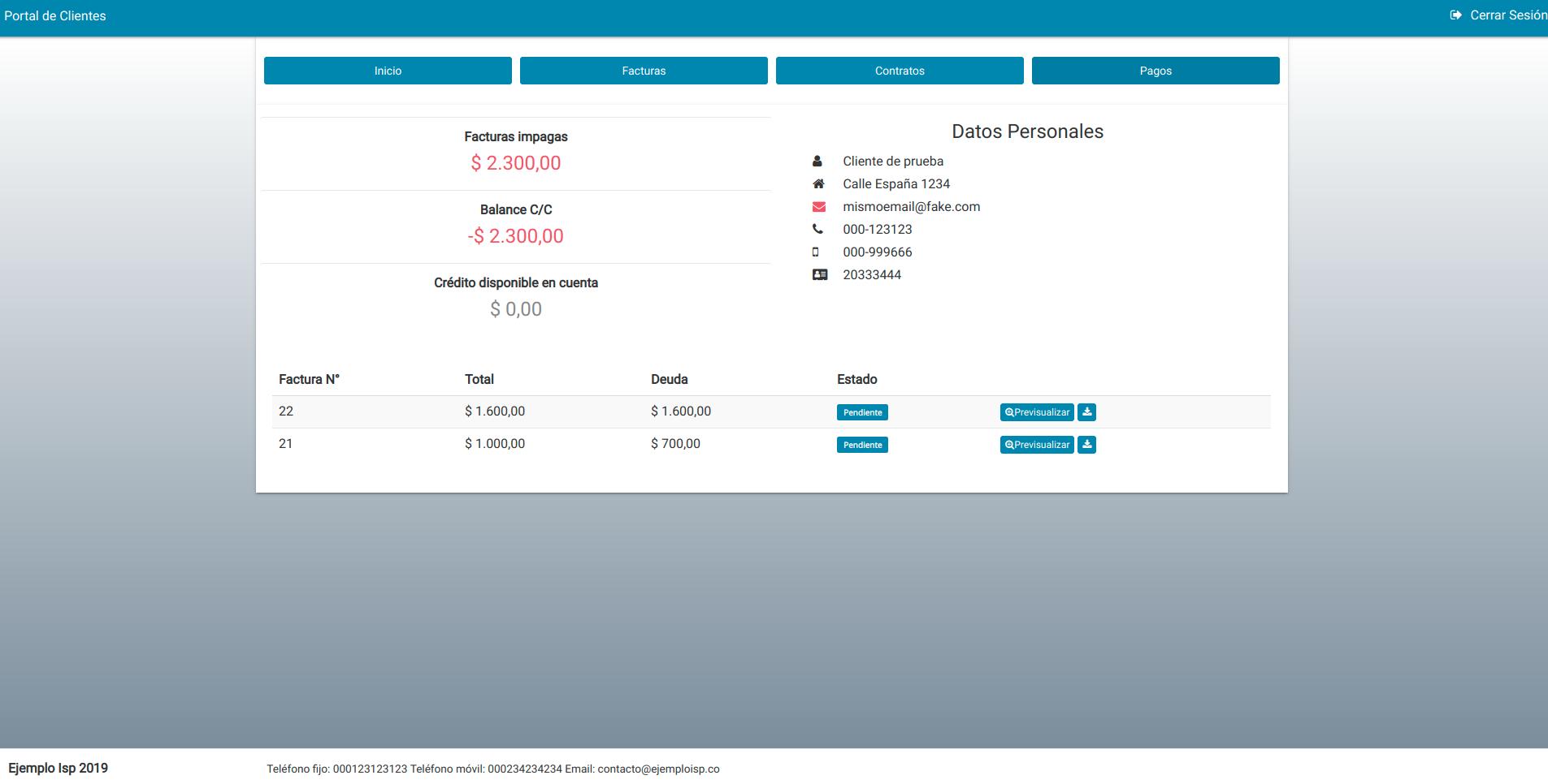 Vista principal del Portal de Clientes
