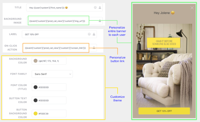 Personalizing Full-screen Modal to each user's preferences & behavioral history